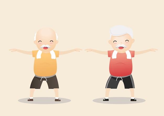 Ćwiczenia osób starszych. Premium Wektorów