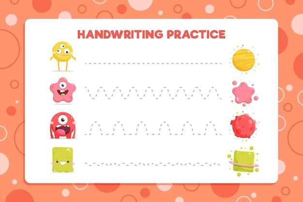 Ćwiczenia Pisma Ręcznego Z Bakteriami Darmowych Wektorów