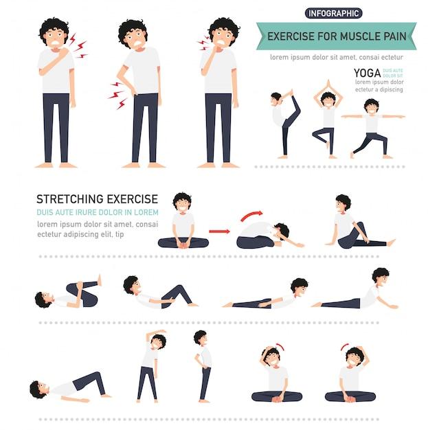 Ćwiczenie na infografikę bólu mięśni Premium Wektorów