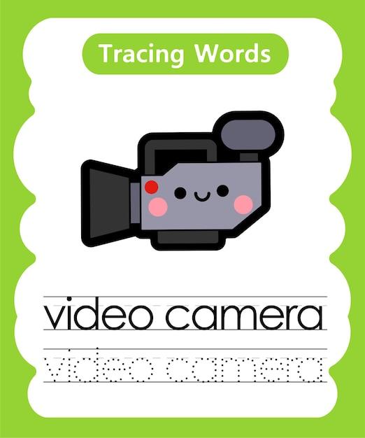 Ćwiczenie Pisania Słów Alfabetu śledzenie V - Gra Wideo Premium Wektorów