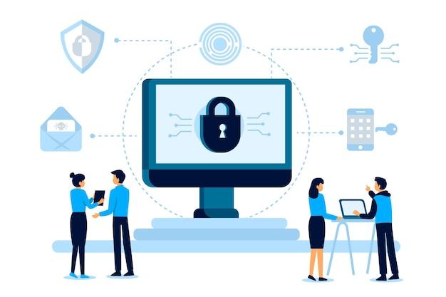 Cyber Ochrony Ilustracyjny Pojęcie Z Ludźmi Darmowych Wektorów