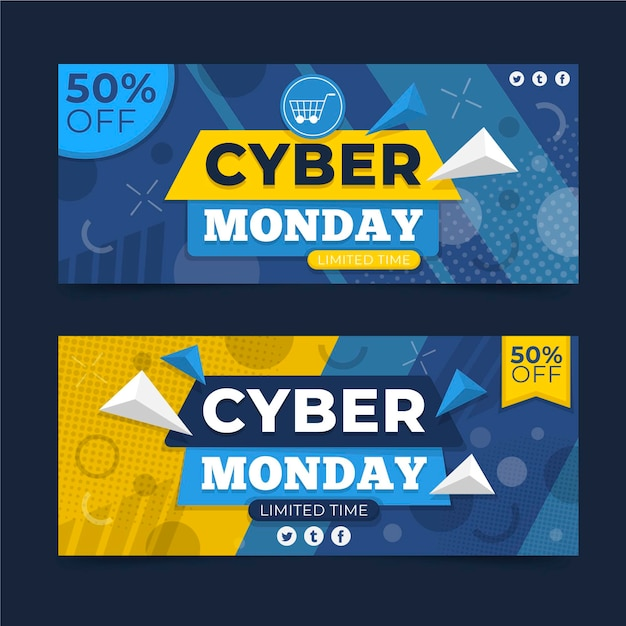 Cyber Poniedziałek Banery W Płaskiej Konstrukcji Darmowych Wektorów