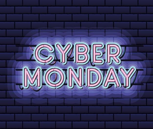 Cyber Poniedziałek Napis W Neonowej Czcionce W Kolorze Różowym I Niebieskim Na Ciemnoniebieskim Projekcie Ilustracji Premium Wektorów