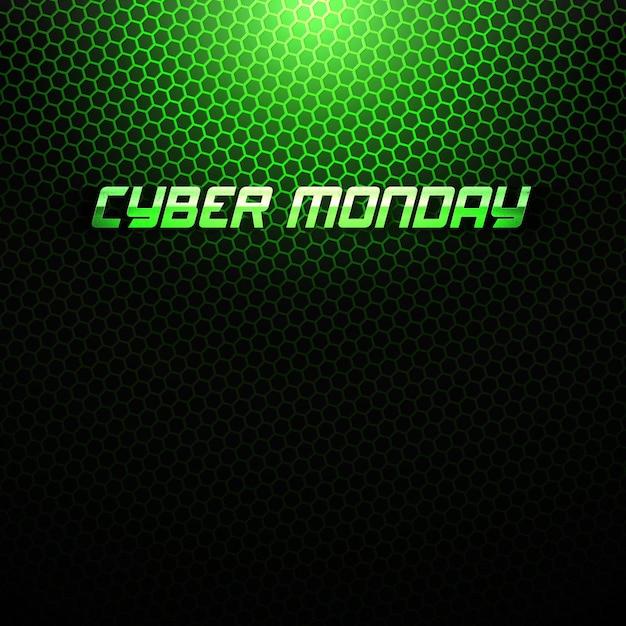 Cyber Poniedziałek Sprzedaż Streszczenie Technologia Zielone Tło Premium Wektorów