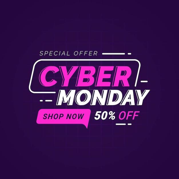 Cyber Poniedziałek Sprzedaż Szablon Transparent Do Promocji Biznesu Premium Wektorów