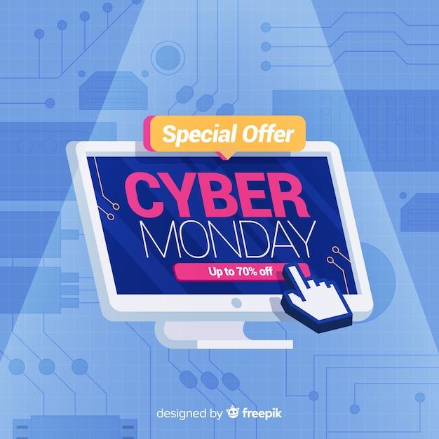 Cyber Poniedziałek W Płaskiej Konstrukcji Darmowych Wektorów