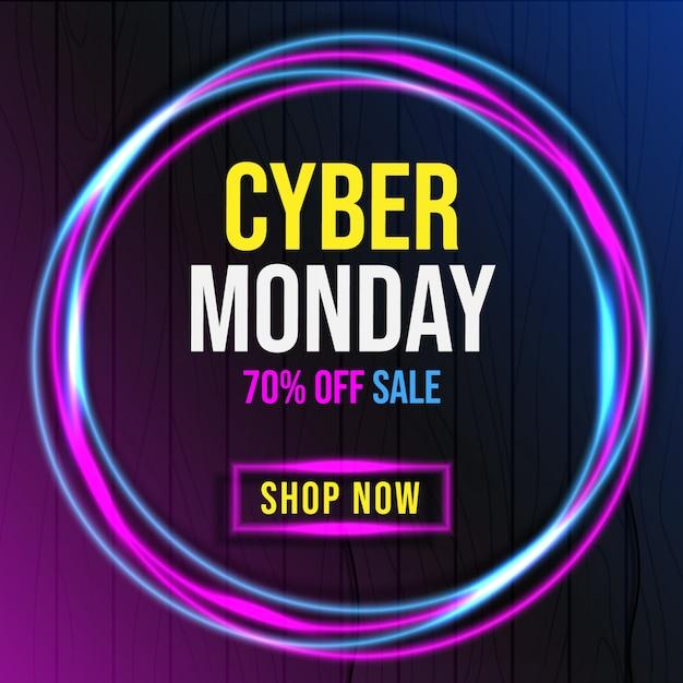 Cyber Poniedziałek Z Neonowym Sztandarem Premium Wektorów