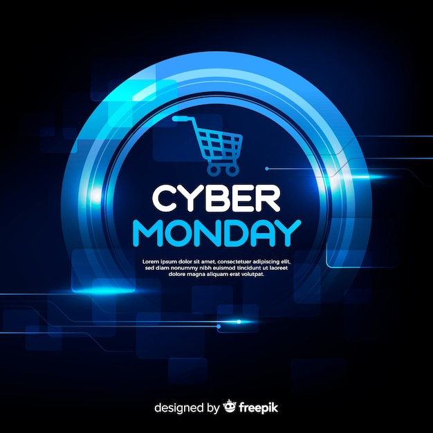 Cyber poniedziałku koncepcja z realistycznym tłem Darmowych Wektorów