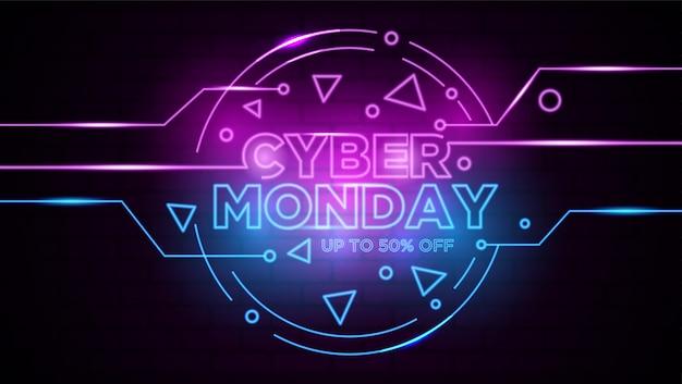Cyber poniedziałku neon znak tła Premium Wektorów