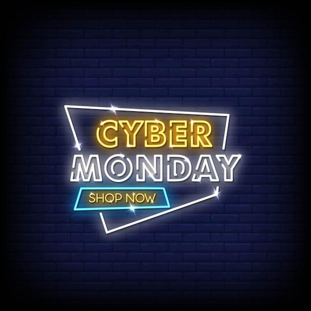 Cyber Poniedziałku Neonowe Znaki Styl Tekst Wektor Premium Wektorów