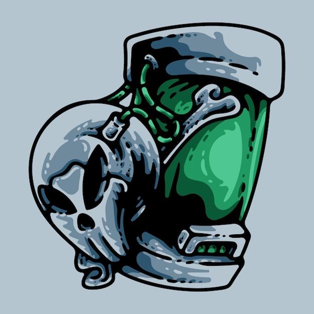 Cyber Skull Na Niebieskim Tle Premium Wektorów