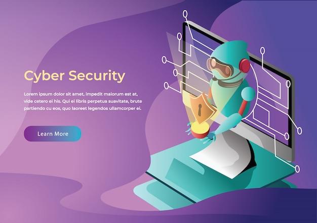 Cyberbezpieczeństwo Web Ilustracja Płaski Premium Wektorów