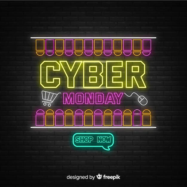 Cybernetyczny poniedziałek koncepcja z neonowym designem Darmowych Wektorów
