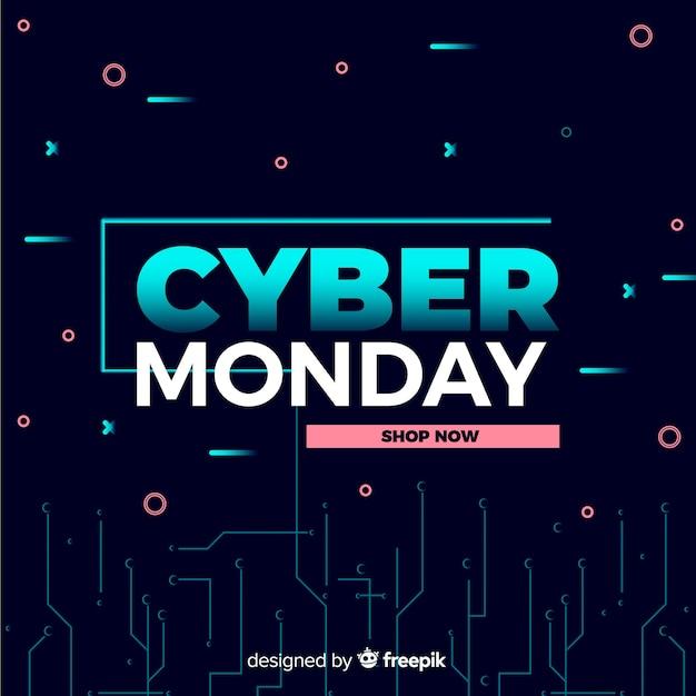 Cybernetyczny poniedziałek koncepcja z płaskim tle Darmowych Wektorów
