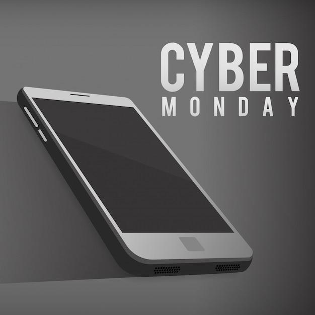 Cybernetyczny poniedziałek. szablon ze smartfonem. Premium Wektorów
