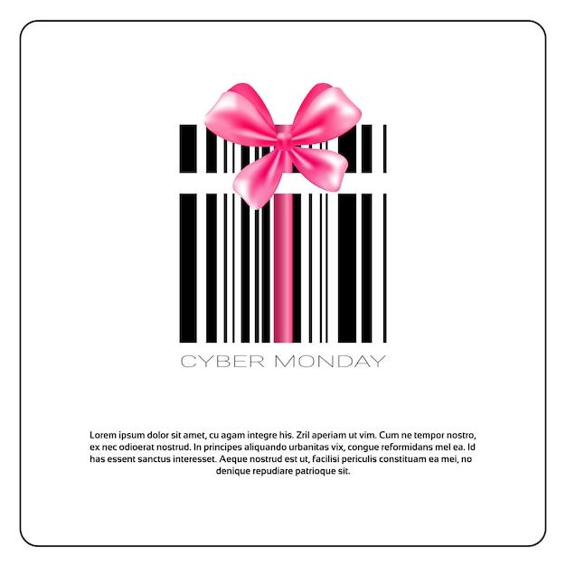Cybernetyczny poniedziałek z kodem kreskowym i różową kokardką sprzedaż transparentu Premium Wektorów