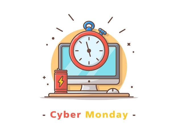 Cybernetyczny poniedziałek Premium Wektorów
