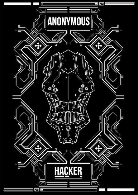 Cyberpunk Futurystyczny Plakat. Szablon Retro Futurystyczny Plakat. Szablon Plakat Streszczenie Tech. Premium Wektorów
