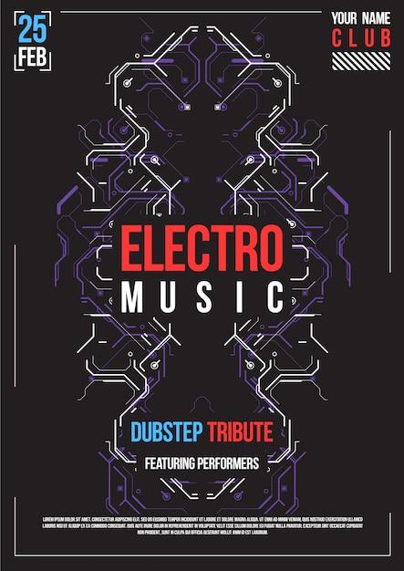 Cyberpunk futurystyczny plakat. szablon retro futurystyczny plakat. układ muzyki elektronicznej. nowoczesna impreza klubowa. Premium Wektorów