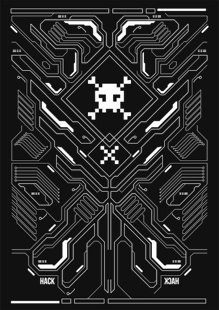 Cyberpunk Futurystyczny Plakat. Szablon Retro Futurystyczny Plakat. Premium Wektorów