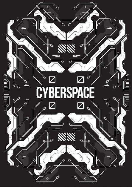 Cyberpunk Futurystyczny Sztandar Z Dekoracyjnymi Stylowymi Elementami. Premium Wektorów