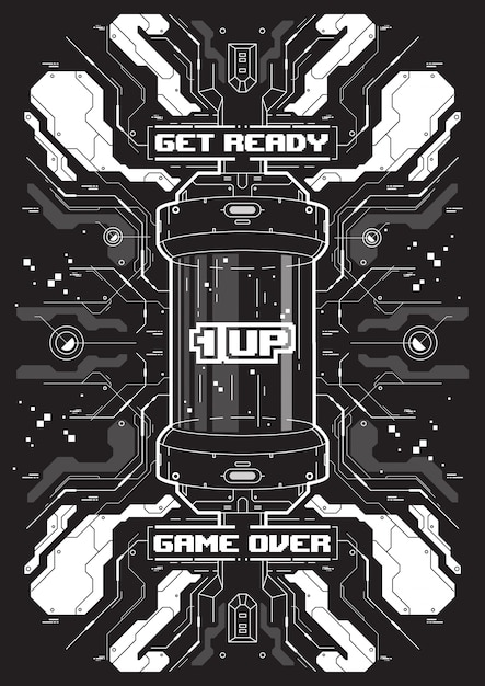 Cyberpunk futurystyczny transparent z elementami retro gry. Premium Wektorów