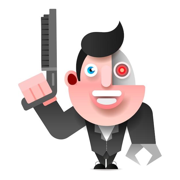 Cyborg W Skórzanej Kurtce Z Ilustracji Wektorowych Strzelby Premium Wektorów