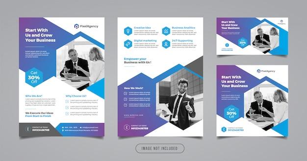 Cyfrowa Agencja Marketingowa Ulotka I Szablon Transparent Mediów Społecznościowych Premium Wektorów