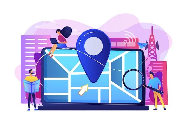 Cyfrowa Aplikacja Gps Na Smartfony. Znak Geograficzny Na Mapie Miasta. Lokalna Optymalizacja Wyszukiwania, Targetowanie W Wyszukiwarkach, Lokalna Koncepcja Strategii Seo. Darmowych Wektorów