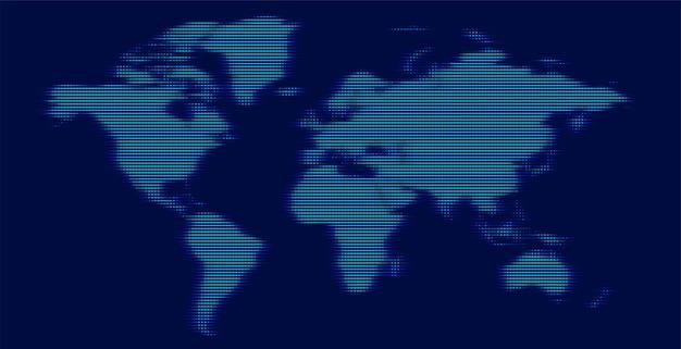 Cyfrowa Mapa świata Wykonana Ze świecącymi Liniami Darmowych Wektorów