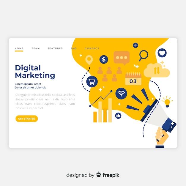 Cyfrowa Strona Docelowa Marketingu Premium Wektorów