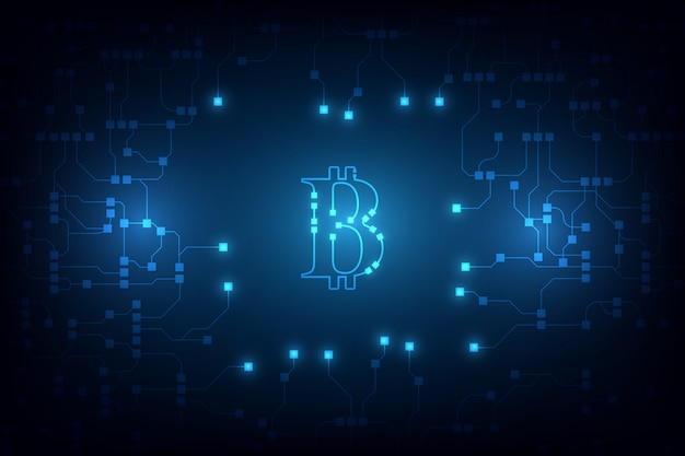 Cyfrowe bitcoin krypto waluta tło wektor. bitcoin tło wektor ilustracja Premium Wektorów