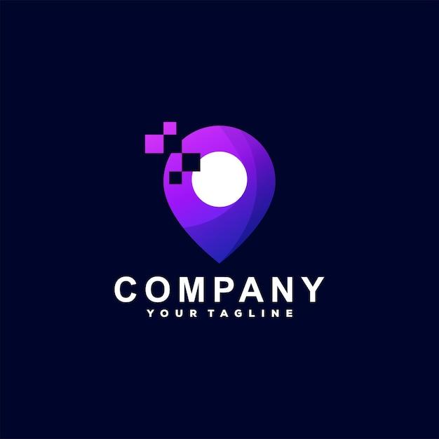 Cyfrowe Logo Gradientu Lokalizacji Premium Wektorów