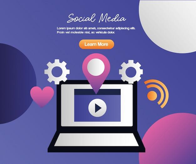 Cyfrowe media społecznościowe Premium Wektorów