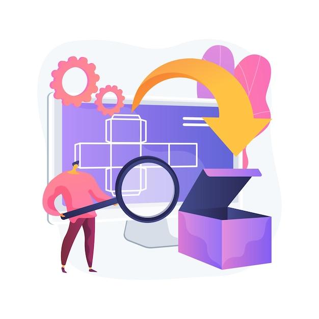 Cyfrowe Opakowanie Abstrakcyjne Pojęcie Ilustracji Wektorowych. Technologia Cyfrowa, Oprogramowanie 3d, Etykiety Ar, Narzędzie Marketingowe, Przyciąganie Klientów, Rzeczywistość Rozszerzona, Dostosowywanie Abstrakcyjnej Metafory Zamówienia. Darmowych Wektorów