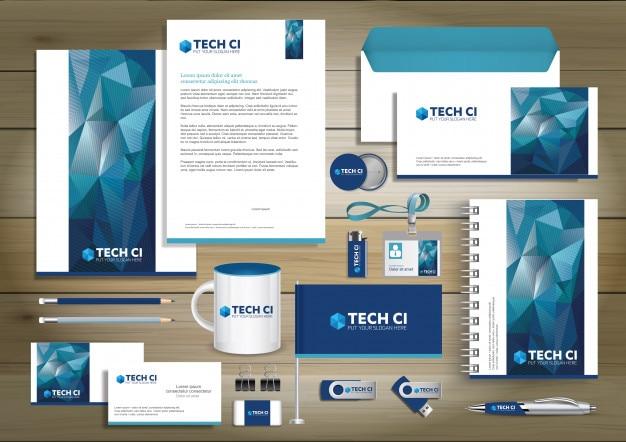 Cyfrowe technologiczne tożsamości firmowej, elementy z podarunkiem szablonu z koncepcją zestawu linków streszczenie makieta. business stacjonarne materiały piśmiennicze vector tekstury papieru projektowania Premium Wektorów