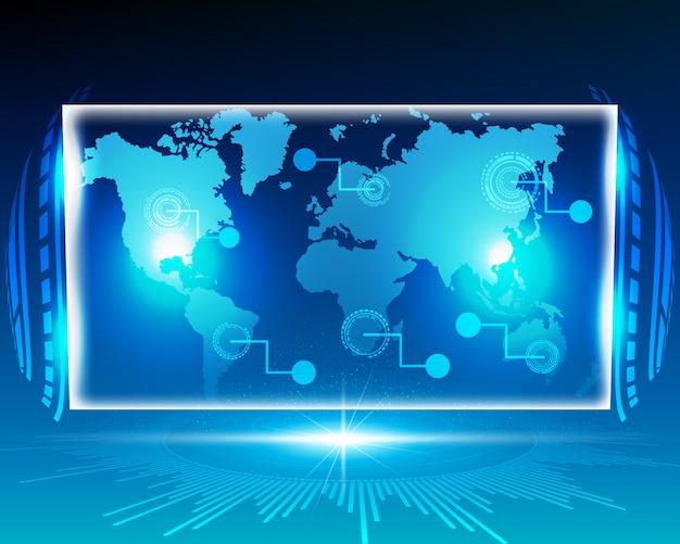 Cyfrowo cyfrowy system map świata. Premium Wektorów