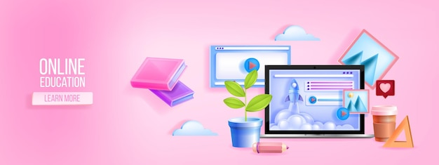 Cyfrowy Baner Internetowy Szkoły Premium Wektorów