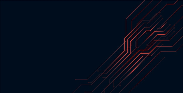 Cyfrowy Czerwony Obwód Linie Technologia Projektowania Tła Darmowych Wektorów