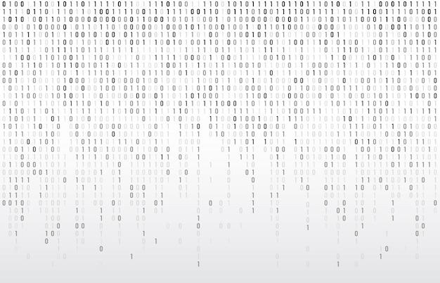 Cyfrowy Kod Binarny. Komputerowe Matrycowe Dane Spada Liczby, Koduje Typografię I Kodują Strumień Popielatą Tło Ilustrację Premium Wektorów