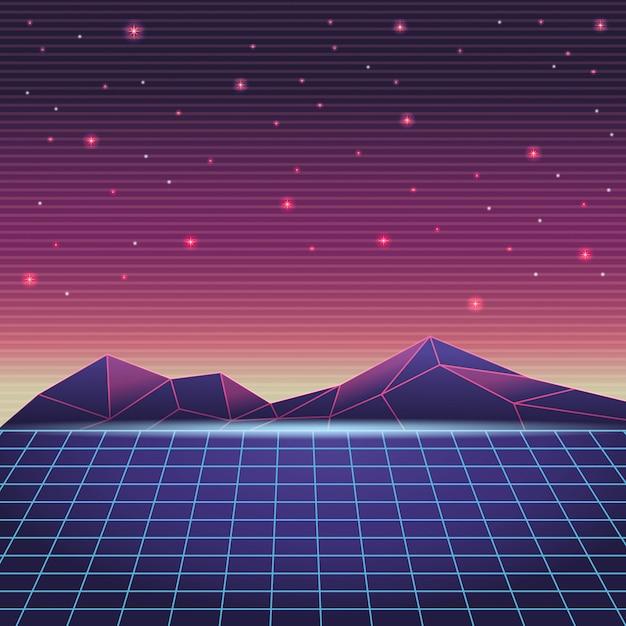 Cyfrowy Krajobraz Górski Premium Wektorów
