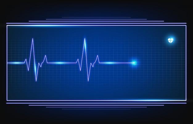 Cyfrowy monitor fali pulsowej linii ekg z hud Premium Wektorów