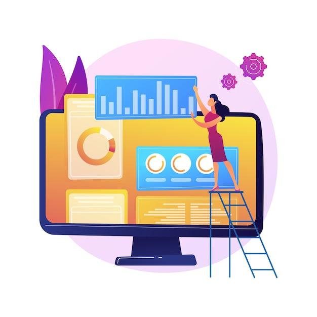Cyfrowy Plan Marketingowy. Biznes Smm, Interfejs Analityczny Online, Reklama Graficzna. Analityk Badający Dane Statystyczne Dotyczące Oceny Marki Darmowych Wektorów