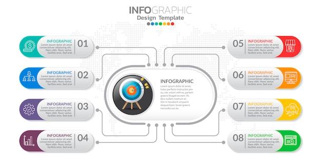 Cyfrowy sztandar marketingowy online z ikonami dla treści biznesowych. Premium Wektorów