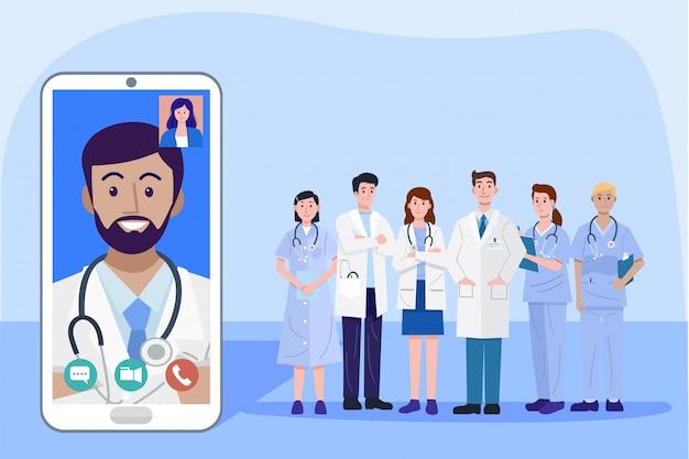 Cyfrowych Zdrowie Pojęcie, Ilustracja Lekarki I Pielęgniarka Używa Mądrze Telefon Dla Konsultować Cierpliwego Online, Wektor Premium Wektorów