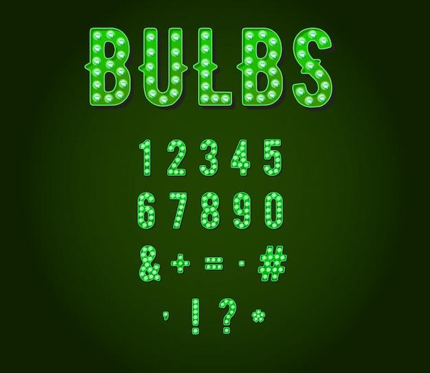 Cyfry lub cyfry żarówki green neon casino lub broadway Premium Wektorów