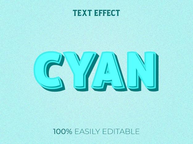 Cyjan 3d Efekt Tekstowy Premium Wektorów