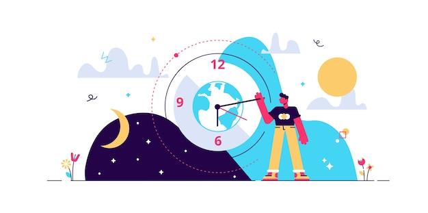 Cykl Dzienny Ilustracja Malutka Osoba. Premium Wektorów