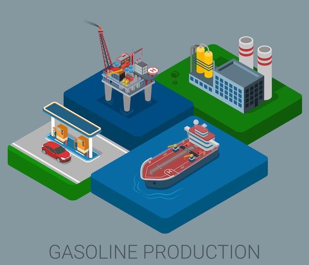 Cykl Procesu Produkcji Benzyny Płaska Koncepcja Izometryczna Infografika Sieci Web Darmowych Wektorów