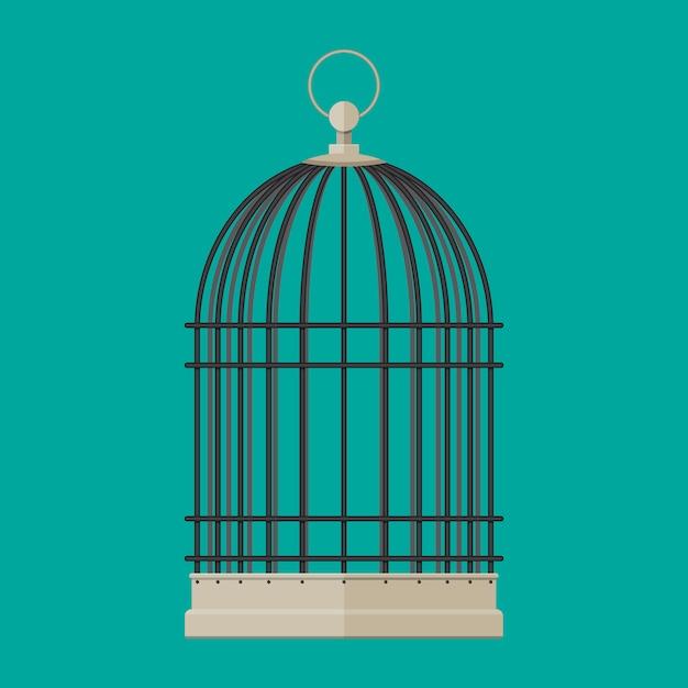 Cylindryczna Metalowa Klatka Dla Ptaków Domowych Premium Wektorów